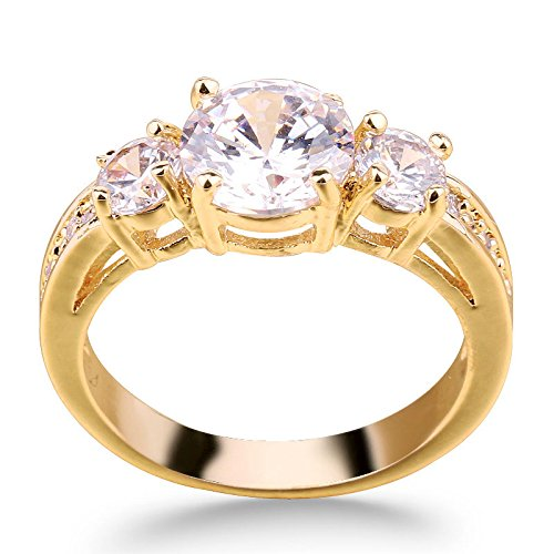 White-Sapphire-CZ-Cubic-Zirconia-10kt-Yellow-Gold-Filled-Three-Stone-Engagement-Ring-Size-6-Wedding-Ring-Three-Stone-Cubic-Zirconia-Rings-Ring-Style