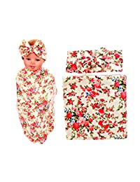 DPSKY Baby Girls Swaddle Blanket and Headband Set Floral Receiving Wrap Newborn Shower Gift