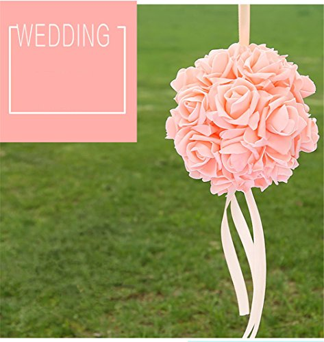VolksRose Flower Kissing Balls Trendy Color Simulation Fabric Artificial Flowers Ball for Wedding, Birthday, Table and Wall Celebrations -