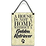 Wooden Golden Retriever Hanging Sign 017 by Maise & Rose