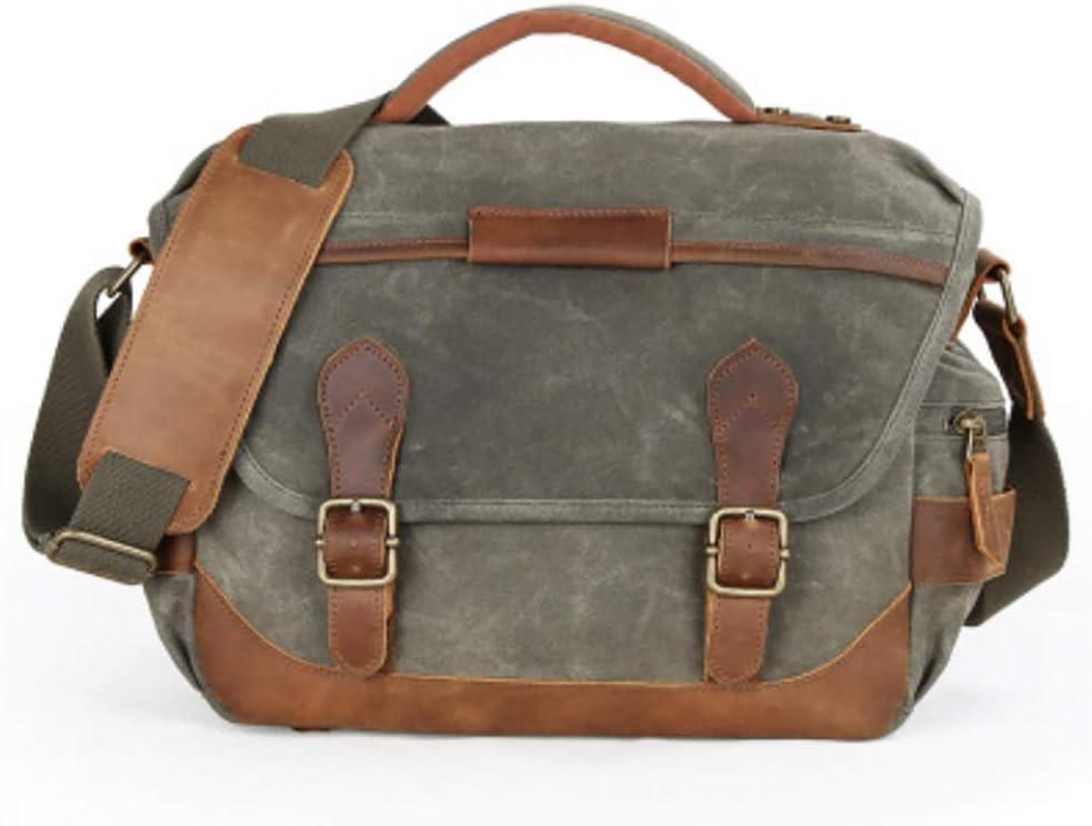 Binglinghua Vintage Leather Camera Bag DSLR Messenger Shoulder Bag Canvas Waterproof Sling Backpack-BLHTYC7013 Green