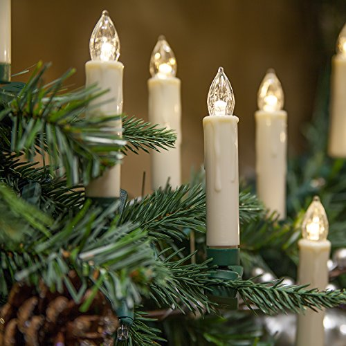 Set of 10 Flameless Electric LED Candles - Clip-On Christmas Tree Lights - Battery Operated, Remote Controlled, Dimmable, Flickering and Steady Light (3.5