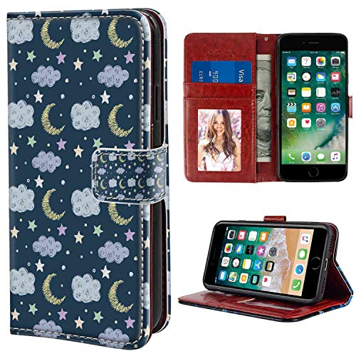 Wallet Case Compatible iPhone 6 (2014) and iPhone 6S (2015) [4.7in] Moon Hand Drawn Style Simple Good Night Pattern Clouds Stars and Dots Fun Scribble Art Multicolor Print Leather Case ()