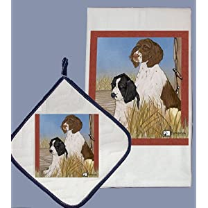 Pipsqueak Productions DP921 Dish Towel and Pot Holder Set - English Springer Spaniel 2