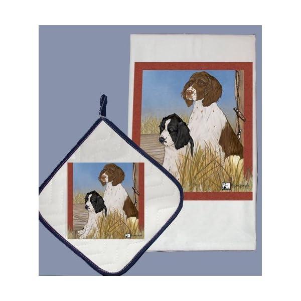 Pipsqueak Productions DP921 Dish Towel and Pot Holder Set - English Springer Spaniel 1