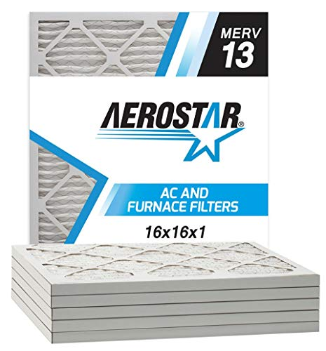 Aerostar 16x16x1 MERV 13 Pleated Air Filter, Made in the USA, 6-Pack