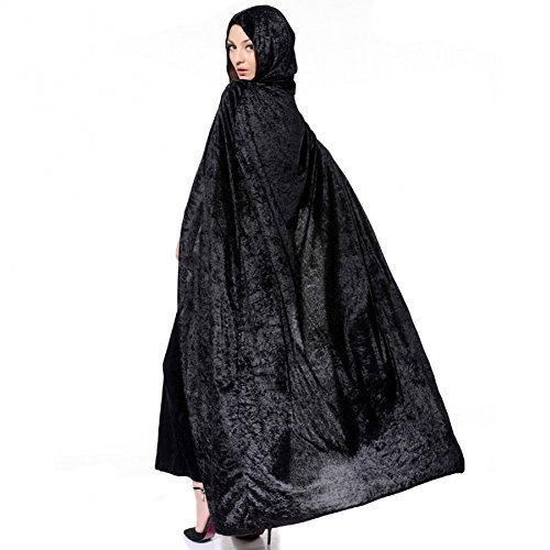 [Unisex Adult's Hooded Robe Cloak Long Velvet Cape Halloween Christmas Party Cosplay Witch Death Costume Full Length] (Long Black Crushed Velvet Cape)
