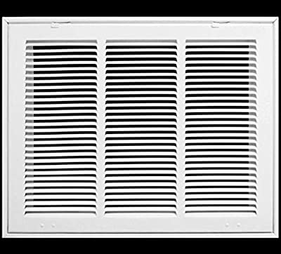 """20"""" X 12 Steel Return Air Filter Grille for 1"""" Filter - Fixed Hinged - ceiling Recommended - HVAC DUCT COVER - Flat Stamped Face - White [Outer Dimensions: 22.75""""w X 14.75""""h]"""