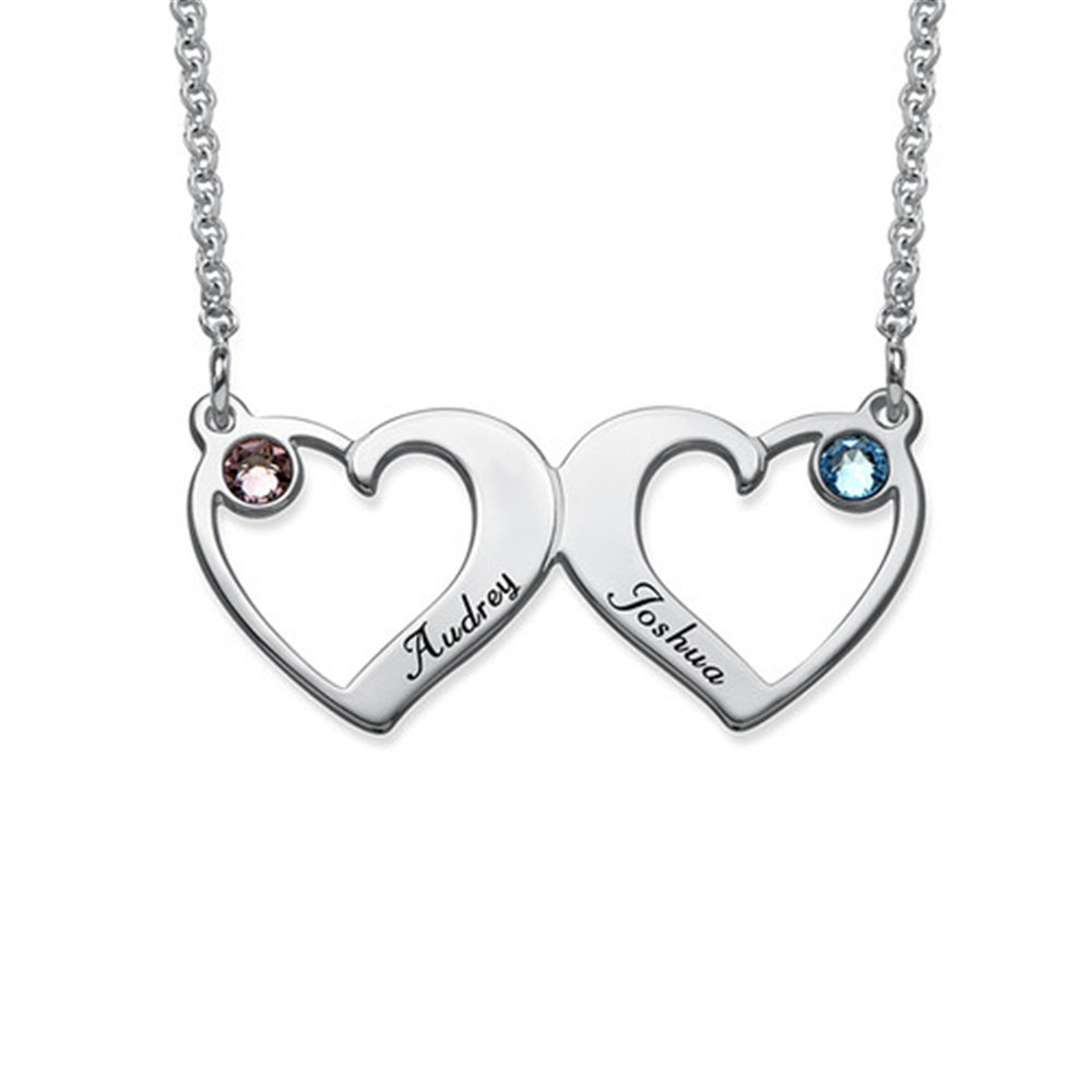 Side By Side Hearts Necklace with Birthstones Personalized Name Necklace Custom for Lover Friend gift