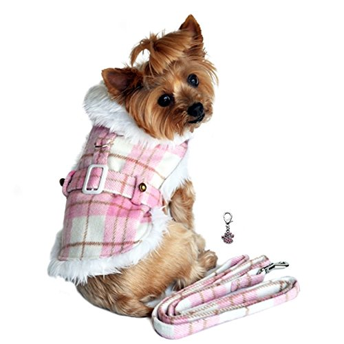 DOGGIE DESIGN Charmed Winter Harness Coat with Matching Leash Set -Dog Size (X-Small- Chest 10-13