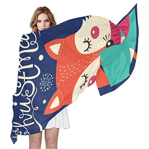 Women Silk Scarf Christmas Fox Personalized for Women Vacation Winter Decor