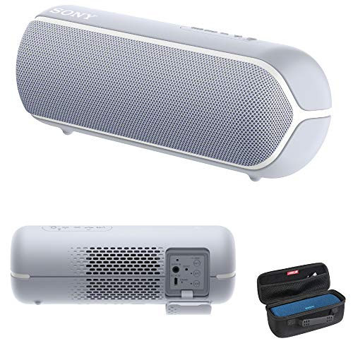 Sony SRS-XB22 Extra Bass Portable Bluetooth Speaker, Gray with Hardshell Carrying Case Bundle (Best Bluetooth Speaker Bass 2019)