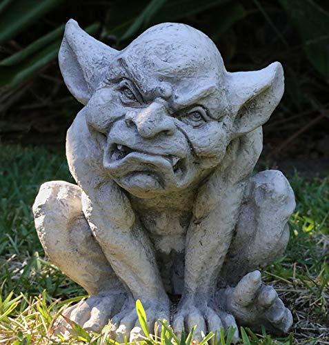 Home Comforts Canvas Print Grumpy Statue Gargoyle Lawn Ornament Creepy Vivid Imagery Stretched Canvas 32 x 24 ()