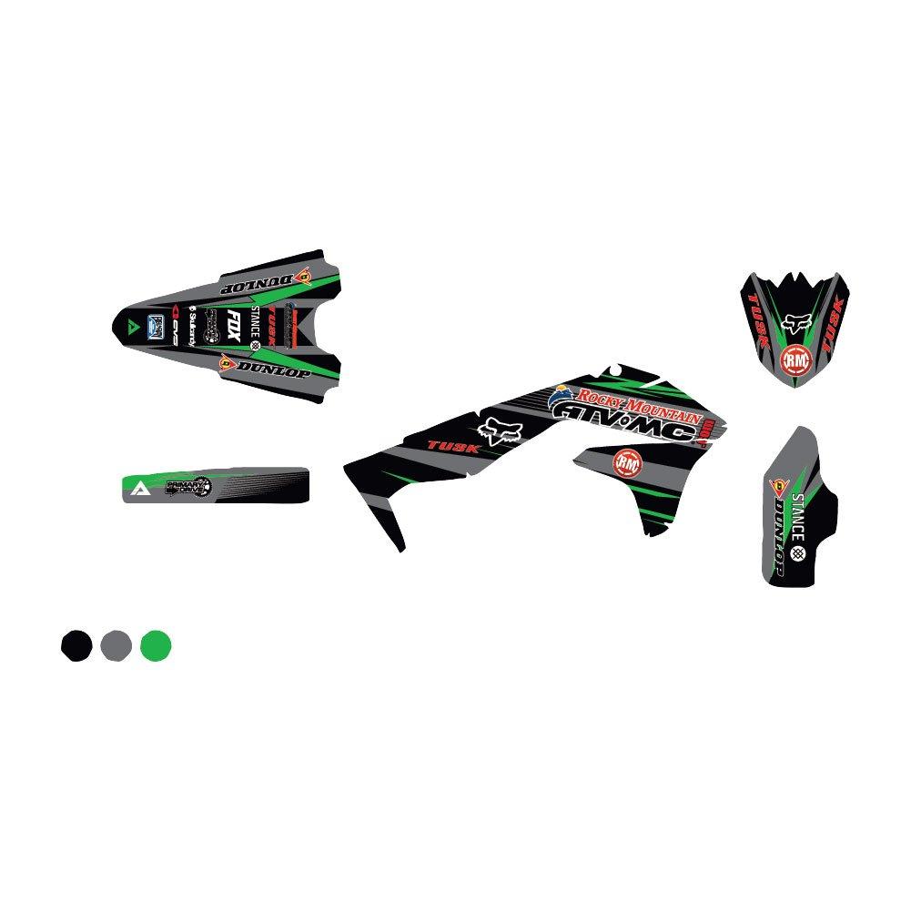 AttackグラフィックスカスタムBlitzフルトリムキットブラック/ダークグレー – Fits : Kawasaki klx140l 2008 – 2009   B07BY7FSGT