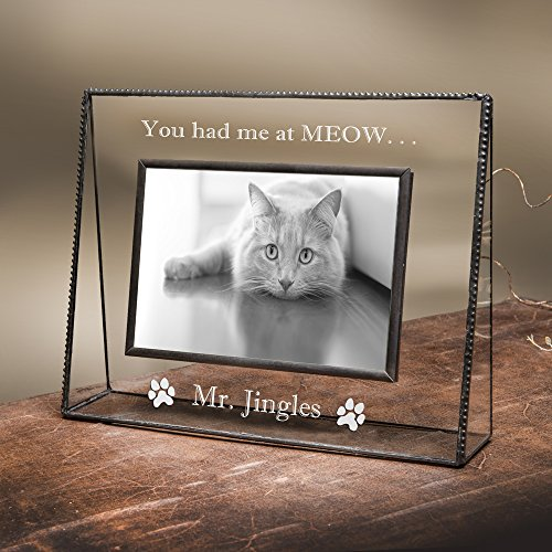 J Devlin Pic 319-46H EP593 Personalized Cat Picture Frame Engraved Glass 4x6 Horizontal Engraved Pet Photo Keepsake (Art Personalized Pet)