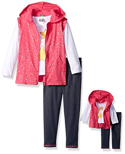 Dollie & Me Little Girls' Star Hooded Vest Set and Matching Doll Outfit, Pink/Multi, 4 (Me Doll)