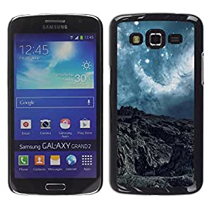 Qstar Arte & diseño plástico duro Fundas Cover Cubre Hard Case Cover para Samsung Galaxy Grand 2 II / SM-G7102 / SM-G7105 ( Alien Planet Turquoise Sky Stars Clouds Cliff View)