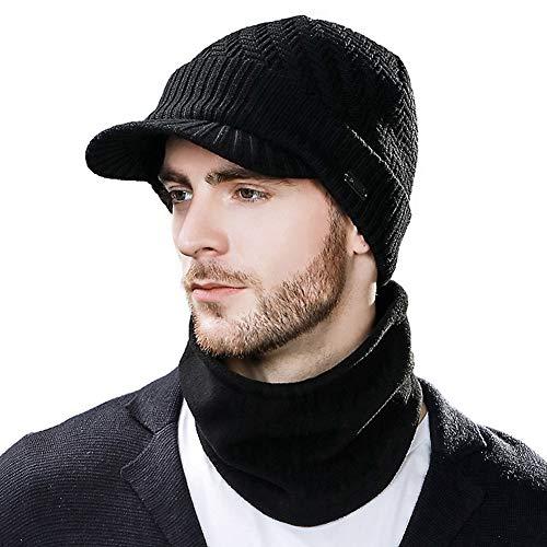 Mens Womens 50% Wool Knit Beanie Visor Cap Winter 24 Fleece Neck Scarf Set Ski Face Mask Black