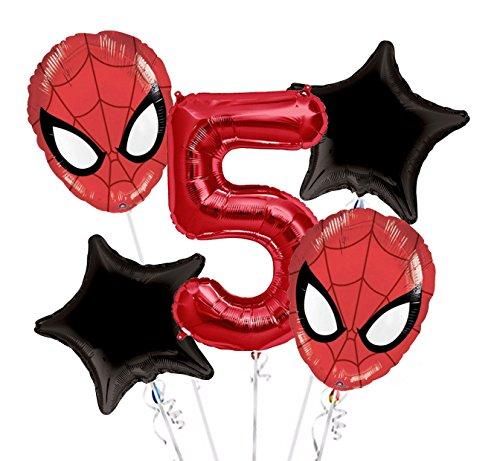 Spiderman Balloon Bouquet 5th Birthday 5 pcs - Party Supplies
