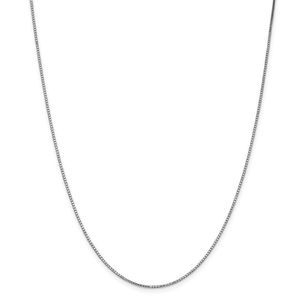 Mia Diamonds 10k White Gold 1.1mm Box Chain Necklace