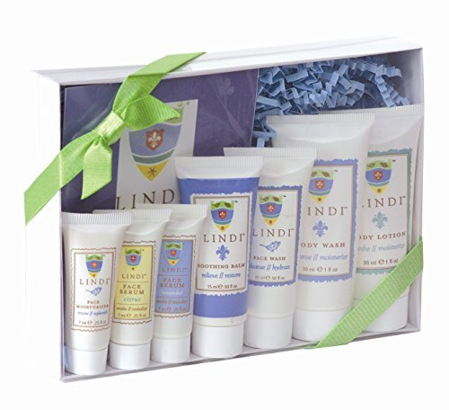(LINDI SKIN Fight Back Pack - Starter Kit That Includes Body Lotion, Body Wash, Citrus Face Serum, Lavender Face Serum, Face Moisturizer, Soothing Balm and Face Wash)