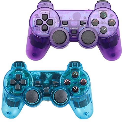 (Saloke 2 Packs Wireless Gaming Console for Ps2 Double Shock (ClearBlue and ClearPurple))