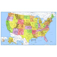 24x36 United States Classic Premier Blue Oceans 3D Wall Map Poster, Rolled Paper Edition