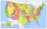 24x36 United States Classic Premier Blue Oceans 3D Wall Map Poster, Folded Paper Edition