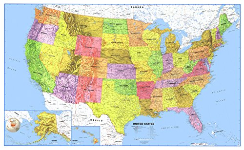 Swiftmaps 24x36 United States Classic Premier Blue Oceans 3D Wall Map Poster, Folded Paper Edition (States United Large Map Road)