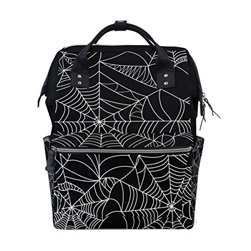 Women Casual Backpack Halloween Spider Web Seamles Net School Bag Wide Open Work Doctor Style Daypack Canvas for Ladies Girls Rucksack]()
