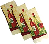 Designer Printed Decorative Everyday Kitchen Dish Towel Set of 3 Cotton Blend (Red Wine)