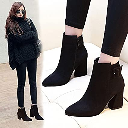 0ad6f95ccd4 Amazon.com : SDKIR-Autumn and winter boots with pointed coarse ...