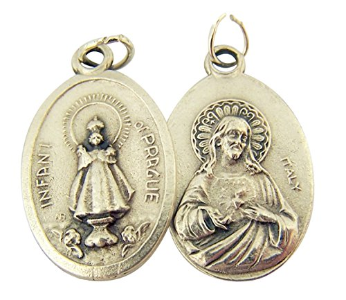 Silver Toned Base Infant of Prague with Sacred Heart of Jesus Medal, 1 Inch, Set of 2