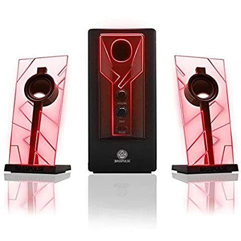 GOgroove BassPULSE 2.1 Computer Speakers with Red LED Glow Lights and Powered Subwoofer - Works with PC , Apple MAC , ASUS , Acer , Alienware , CybertronPC , Dell , HP and More (Light Pulse Cable Aux)