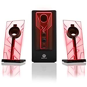 GOgroove BassPULSE 2.1 Computer Speakers with Red LED Glow Lights and Powered Subwoofer - Gaming Speaker System for Music on Desktop , Laptop , PC with 40 Watts , Heavy Bass