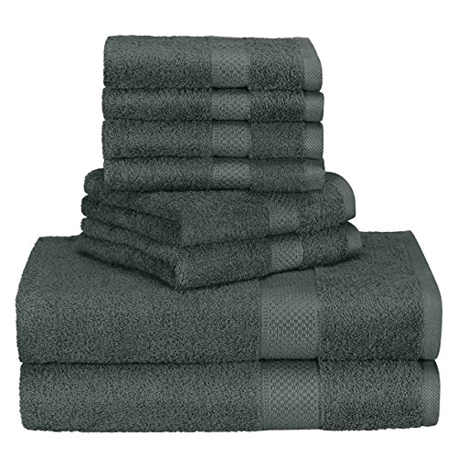 Homitt 100% Cotton 8 Piece Towel Set, Fade-Resistant and Anti-lint Washcloth Set with 2 Bath Towels, 2 Hand Towels and 4 Washcloths for Baby and Adult(Grey) by Homitt
