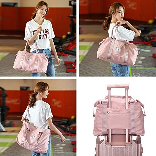 Travel Duffel Bag, Sports Tote Gym Bag, Shoulder Weekender Overnight Bag for Women
