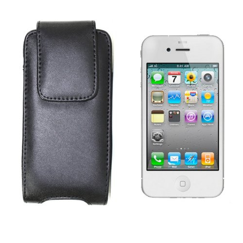 Belt Voyager Lg Clip - Black Leather Holster Case Cover with Belt Clip for Apple iPhone 5, LG Voyager, T-Mobile Sidekick 2008, Palm Centro Cellular Phone Accessory