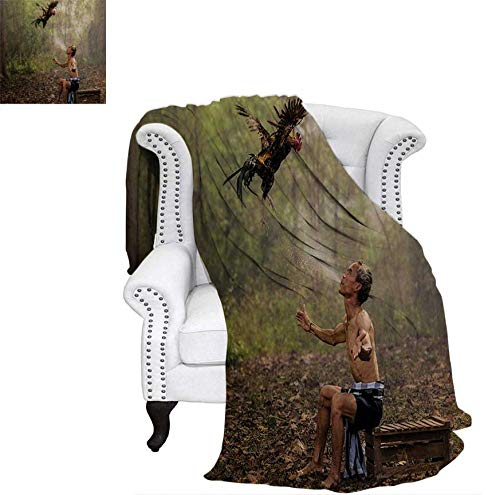 Throw Blanket Asian Man in Forest Training His Fighting Bird Eco Spiritual Life Picture Print Warm Microfiber All Season Blanket for Bed or Couch 60