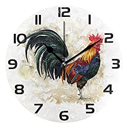 WellLee Rooster Cock Clock Acrylic Painted Silent Non-Ticking Round Wall Clock Home Art Bedroom Living Dorm Room Decor