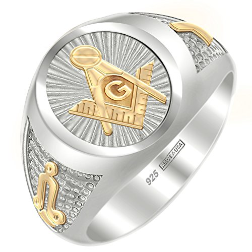Sterling Silver Vermeil Ring (Customizable Men's Two Tone 0.925 Sterling Silver and Vermeil Blue Lodge Freemason Masonic Ring, Size 13.5)