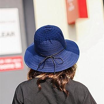 LOF-fei Mujer verano sombreros de sol sombrero de paja Pajarita al aire  libre plegables de playa UPF 50+ ffe8a5ce13f