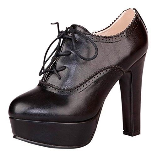 Oxford Lace Up Pump Shoes (Waltz Choice Women's High Heels Platform Pumps Lace Up Oxford Shoes Spring Autumn Casual (US 9=EU41=Foot Length 25.5cm, Black))