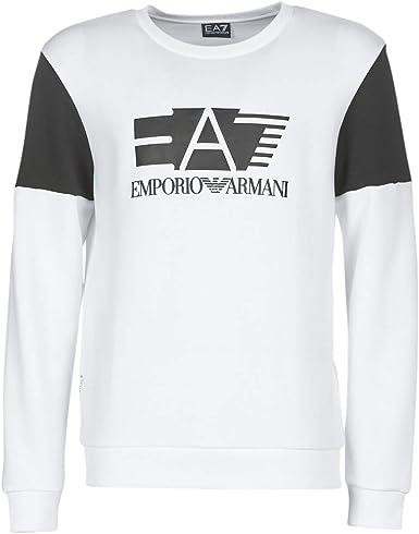 Sudadera Garzata blanca cuello redondo con logotipo Ea7 negro en relieve, L, blanco: Amazon.es: Ropa y accesorios