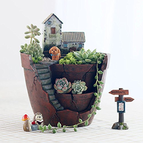 Succulent Planter Pot For Decorative Succulents Cacti Flowers Plants, Diy Fairy Garden Container With Miniature House (Brick Ideas Patio Backyard)