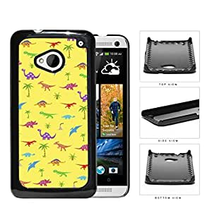 Prehistoric Colorful Dinosaur Pattern Hard Plastic Snap On Cell Phone Case HTC One M7