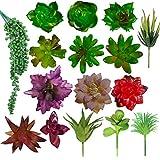 U'Artlines Pack of 16 Artificial Succulent Flowers Plants Unpotted Decor Stems Fake Succulents Bulk Plants for Home Decor Indoor Wall Garden DIY Decorations