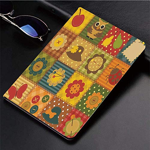 Compatible with 3D Printed iPad 9.7 Case,Cute Nature Themed Figures Owl Ladybug Flower Hat Butterfly P,Lightweight Anti-Scratch Shell Auto Sleep/Wake, Back Protector Cover iPad 9.7