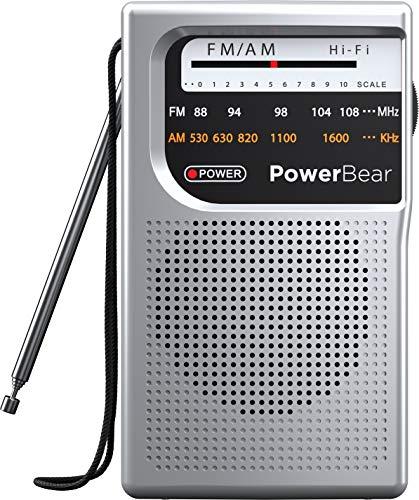 PowerBear Portable Radio | AM/FM, Battery Operated, Long Range (Silver)