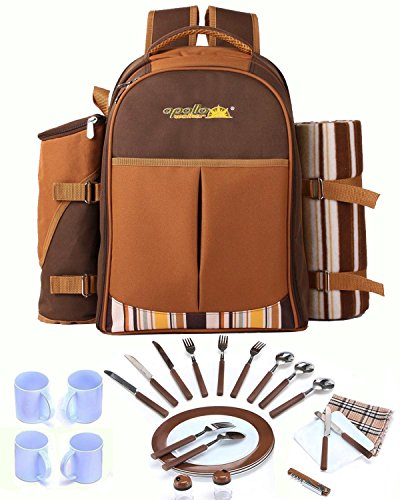 Deluxe Picnic Cooler 4 Person (Cwhcoltd Picnic Backpack Bag for 4 Person With Cooler Compartment, Detachable Bottle/Wine Holder, Fleece Blanket, Plates and Cutlery Set Perfect for Outdoor, Sports, Hiking, Camping,)